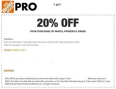Home Depot 20 Off Paints - Primer In Store Only Purchase INSTANT DELIVERY 108