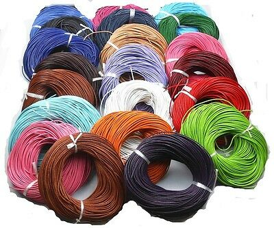 Hotsale 5 Meter 2-0 mm Real Leather Rope String Cord Necklace Charms 26 Colors