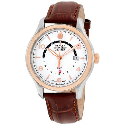 Wenger Swiss Military Silver Dial Leather Strap Mens Watch 79306C