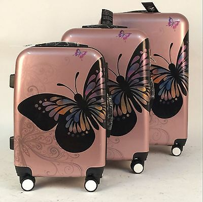 Rose Gold Butterfly 4Wheel Hard Shell Suitcase PC Luggage Trolley Case in 3 Size