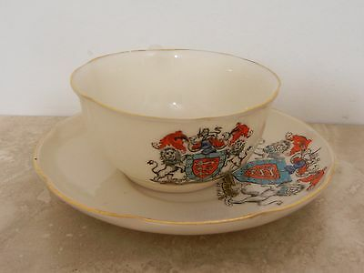 GOSS CRESTED CHINA CUP - SAUCER CITY of  HEREFORD ENGLAND CREST POTTERY SOUVENIR