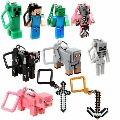 10 Minecraft Action Figures Hangers Keychains Set of 10 3-Inch 10-Pieces