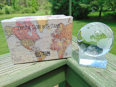 Oleg Cassini Etched Crystal Globe with Stand and Original Box NEW 4 dia