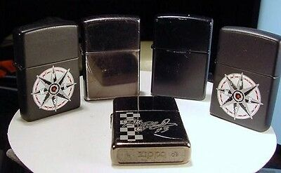 Lot of 5 Vintage Full Sized Zippo Lighters    Used NR