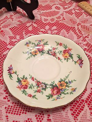 Colclough Fine Bone Pink Floral Pattern Light Green Background China Saucer Gift