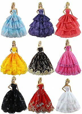 6pcs Barbie Doll Fashion Princess Dresses Outfits Party Wedding Clothes Random