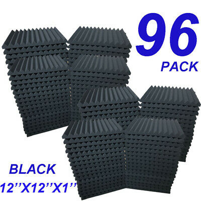 96 Pack Acoustic Foam Panel Wedge Studio Soundproofing Wall Tiles 12 X 12 X 1