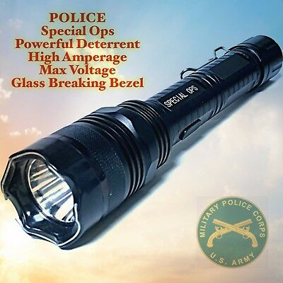 Metal Police Stun Gun 575 Million VOlt Special Ops Rechargeable LED Flashlight