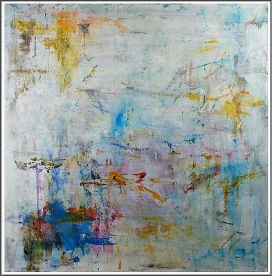 Signed Lena Elegant Modern Abstract Painting 48 x 48 Original Oil On Canvas