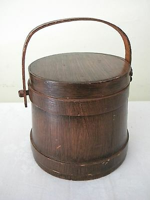 VINTAGE SWEENEY'S ART STORE 6 12 WOOD STAVED FIRKIN STYLE COVERED BUCKET