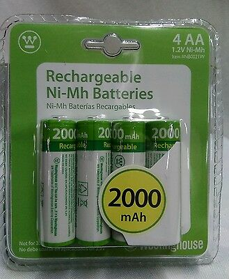 NEW STOCK  4 AA WESTINGHOUSE RECHARGEABLE BATTERIES 2000 mAh 1-2V Ni-Mh