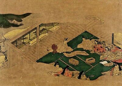 Signed Old Antique The Tale of Genji  Tosa  Japanese Painting EDO