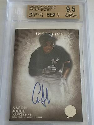 2015 BOWMAN INCEPTION AARON JUDGE AUTO YANKEES MVP ROOKIE CARD RC BGS 9-5 10
