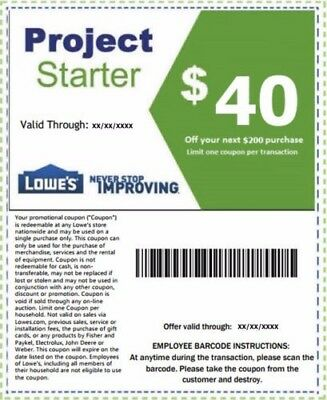 One Lowes 40 OFF 200 Coupon Promo Instore Online Exp 930-Minute FAST Delivery