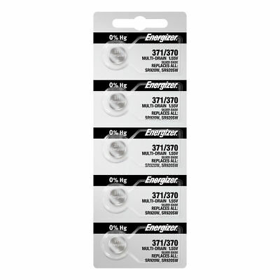 5 x Energizer 371 SR920SW Silver Oxide Watch Battery Made in USA FREE SHIPPING