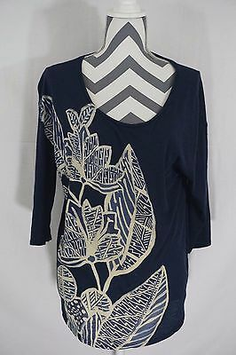 Lucky Brand Womens Blue 34 Sleeve Floral Shirt Size Large