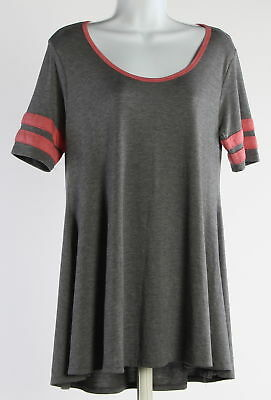 Womens LULAROE Gray And Pink Short Sleeve Top Size Extra Small