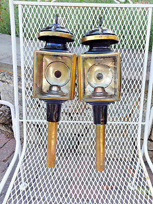 Lot of 2 Antique Black Metal - Brass Carriage Buggy Lamp Bevel Glass