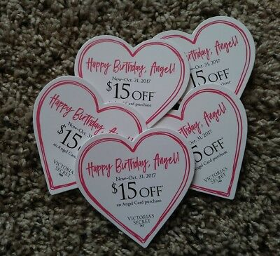 Victorias Secret 15 Off Angel Card Purchase Lot of 5 75 Value IN STORE ONLY