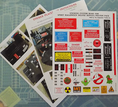 Ghostbusters Proton Pack  Spirit Halloween Deluxe Replica  up grade Stickers