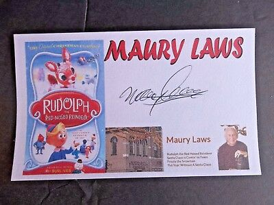 Rudolph The Red-Nosed Reindeer Maury Laws Autographed 3x5 Index Card