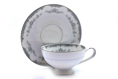 Mikasa Arlington 5557 White Blue Silver Footed Cup and Saucer Set
