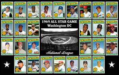 NATIONAL LEAGUE NL 1969 All Star Game Custom Baseball Card POSTER Decor Gift 69