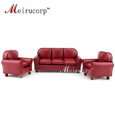 Dollhouse furniture 112 scale Miniature red leather Sofa and chair 3 pcs set