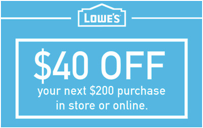 TWO Lowes 40 OFF 200 INSTANTCoupons ONLINE or INSTORE - 3 Min FAST Delivery