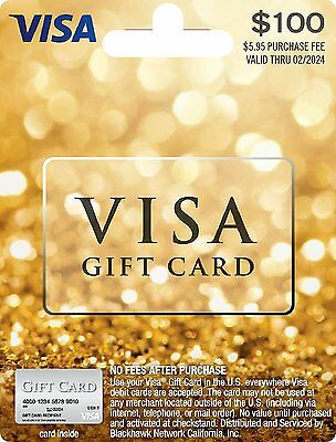 100 NonReloadable VISA Card- Activated No fees Free fast 2-Day Delivery-