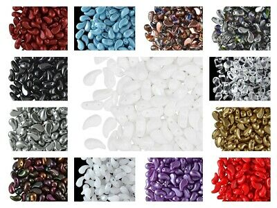 CHOOSE COLOR 20pcs 5x8mm 2-hole ZoliDuo® Left Beads Czech Pressed Glass