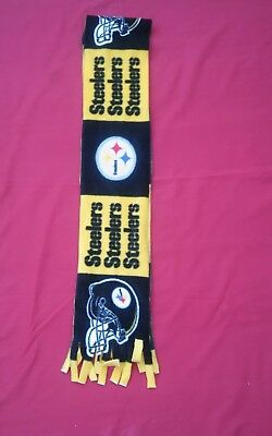 NFL PITTSBURGH STEELERS  FLEECE SCARF block  APPROX 60 X 6 UNISEX  HANDMADE