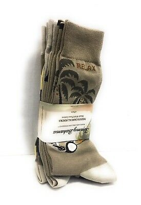 MENS TOMMY BAHAMA Casual Socks RELAX PACK of 4 Tropic Beige Prima Cotton