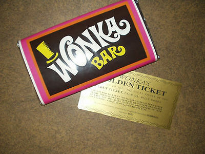 7 oz- sized Willy Wonka chocolate bar WRAPPER - GOLDEN TICKET no chocolate