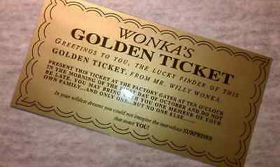 Laminated Willy Wonka Golden Ticket Replica - Measures 6 14 X 3 14