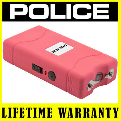 POLICE Stun Gun Mini 800 PINK - 5 BV Mini Rechargeable With LED Light - Case