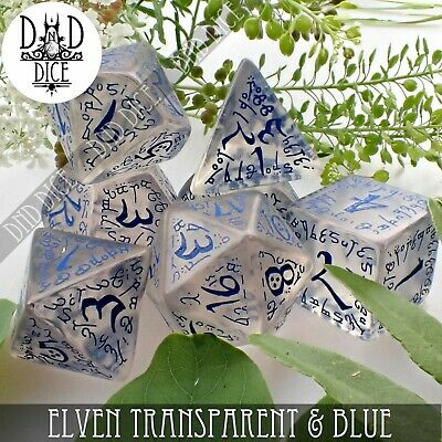 Elven Transparent & Blue Dungeons and Dragons Dice Set | DND DICE | Q-Workshop