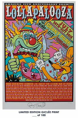 RARE POSTER concert festival LOLLAPALOOZA 2016 music giclee d100 12x18