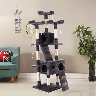 67 Cat Tree Tower Condo Furniture Scratching Post Pet Kitty Play House Gray