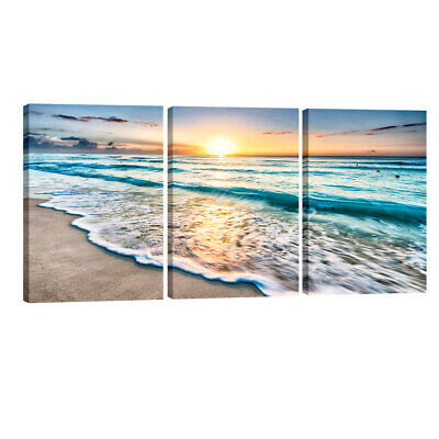 Canvas Prints Wall Art Home Decor Painting Pic Photo Sea Beach Blue Landscape