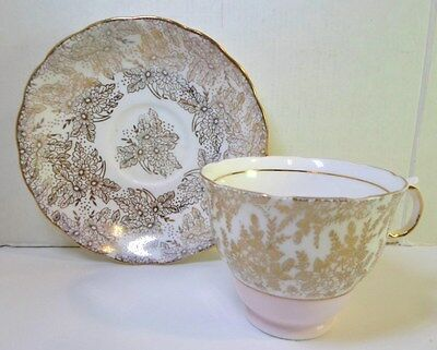 Vintage COLCLOUGH TEA CUP SAUCER - GOLD LACE with PASTEL PINK English Bone China