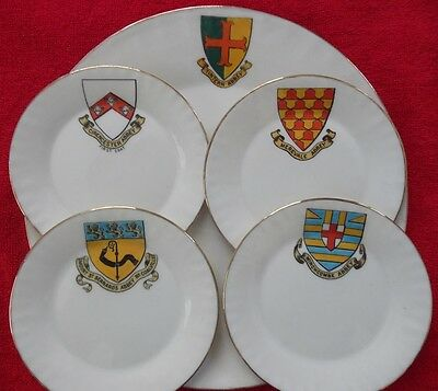 5 Pieces of W H Goss Crested China - Plates From Various Abbeys 4 B-B 1 Dinner