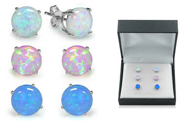 Sterling Silver Trio Blue White and Pink Opal Set With Gift Box