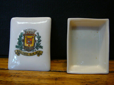 VINTAGE WH GOSS CRESTED CHINA BOULOGNE SUR MER STAMP BOX ENGLISH CHANNEL dOPALE