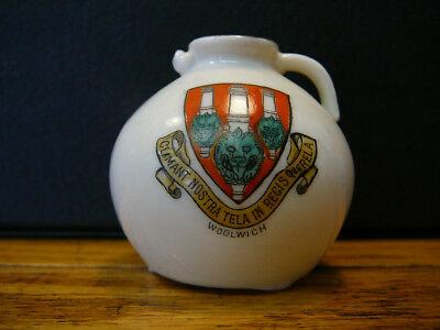 VINTAGE WH GOSS CRESTED CHINA VASE GLOUCESTER JUG WOOLWICH LONDON GREENWICH
