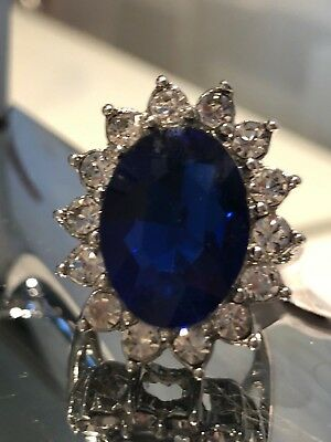 Kate Middleton Princess Diana VERY HUGE Sapphire CZ engagement Ring White Goldp