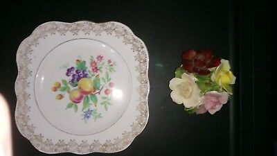 England bone china 2 piece Floral design and 1 Large Plate