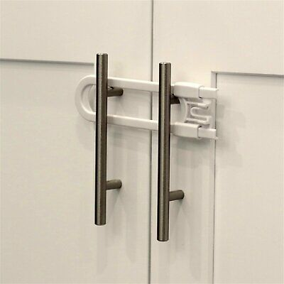 Child Safety Sliding Cabinet Locks 4 Pack - Baby Proof Knobs Handles - Doors