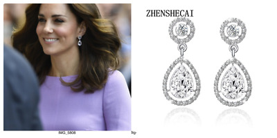 Vintage Style Kate Middleton Replica Water Drop Earrings - 12ct cz tw 026