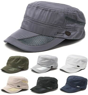 Mens Classic Summer Army Hat Military Cadet Patrol Style Brim Spring Summer Cap